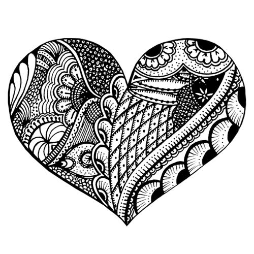 Black & White Print: Black Heart