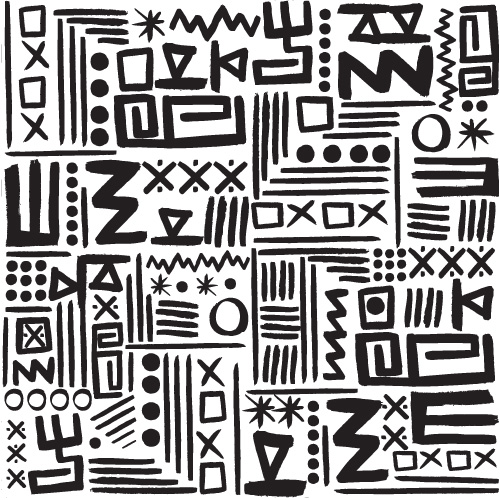 Black & Whi... Tribal Print Pattern Black And White