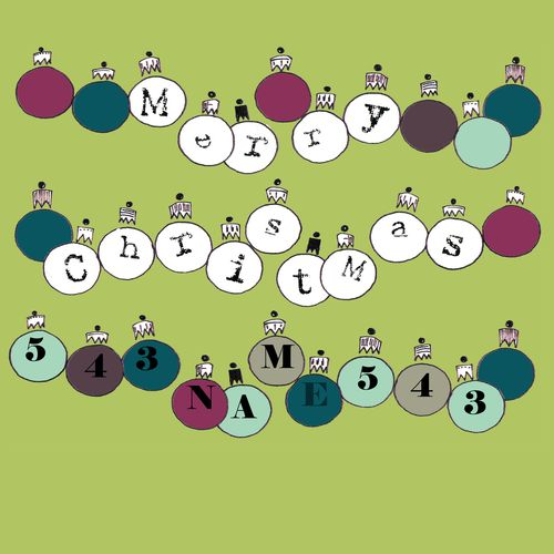 Christmas Typography: Merry christmas baubles copy